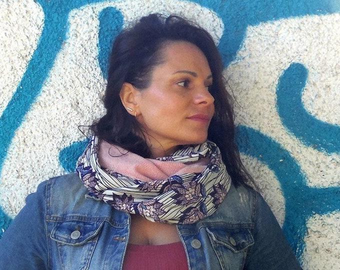 Snood woman pink scarf and floral print. Tube collar, neck circumlea, infinite scarf, circular scarf
