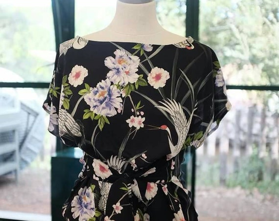 Navy kimono top for women in Japanese floral fabric with birds