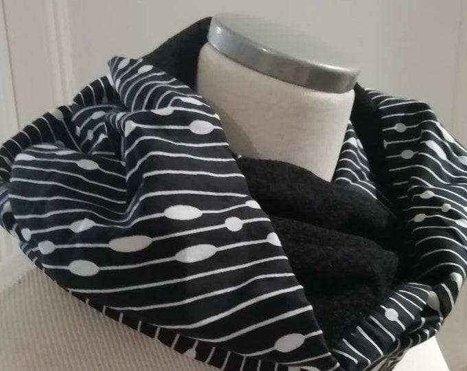 Women Snood | tube collar | tubular scarf | infinity scarf | infinite scarf| circular scarves|black and white scarf|japanese chirimen fabric