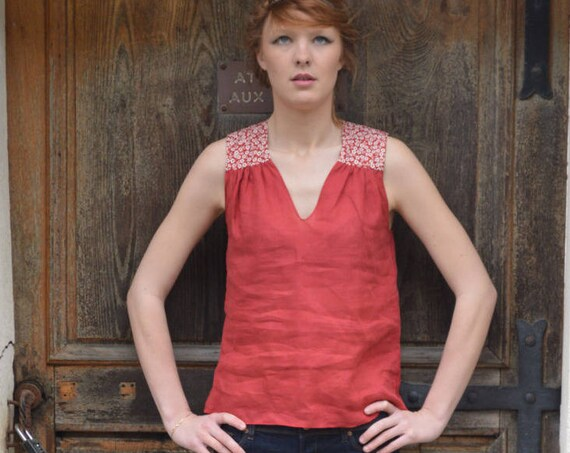 Red linen top for woman, linen tank top, red tank top, women tank tops, japanese fabric, flowers pattern, summer top, cherry blossom fabric