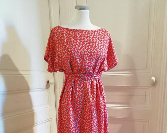 Women's red cotton long summer dress
