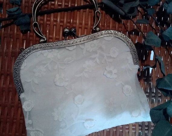 Wedding clutch for women. Small bag in white lace with embroidered 3-d flowers. Bridal Accessories