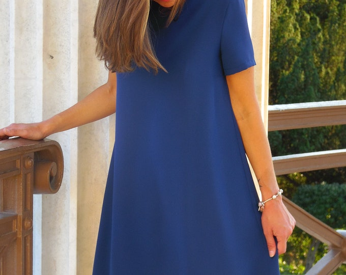 Blue dress with lace for woman, cocktail dress