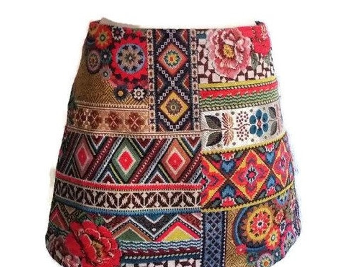 MINI Multicolored short skirt and trapeze for women