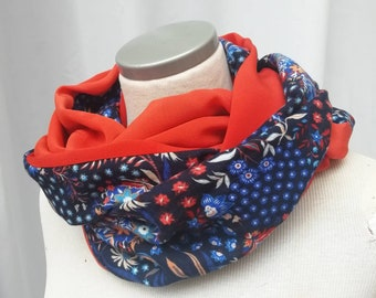 SNOOD blue and orange woman scarf