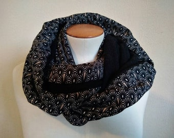 Women Snood | tube collar | tubular scarf | infinity scarf | infinite scarf| circular scarves|black and white scarf|japanese chirimen fabric