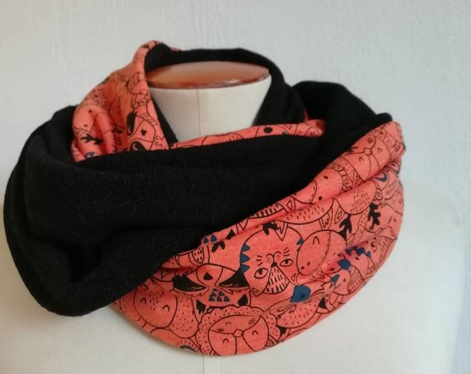 SNOOD winter woman scarf printed small animals from the woods