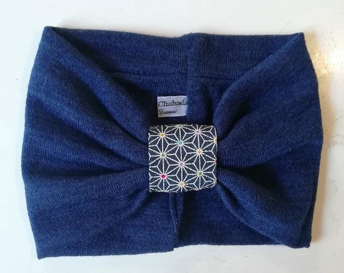 Blue mesh turban headband and Japanese fabric. Knitting earmuffs