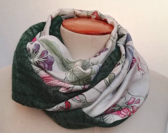 tubular woolen scarf for woman with a cotton side.  flowers pattern