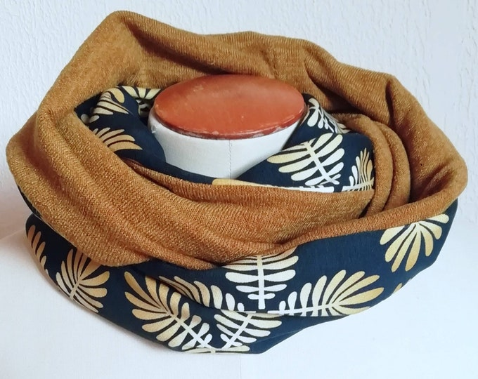 SNOOD winter women's scarf printed graphic organic cotton and mustard mesh