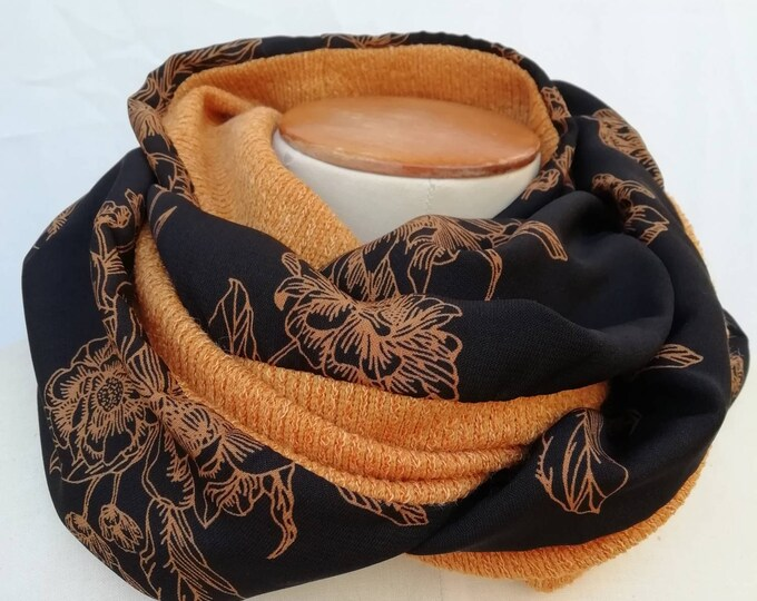 Snood woman scarf tubular flowers and rust mesh orange mustard . Tube collar, neck circumlea, infinite scarf, circular scarf