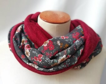 Snood woman scarf fabric printed flowers. Tube neck, neck circumference, infinite scarf, circular scarf