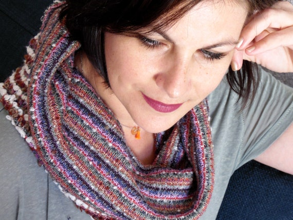 Woman wool multicolor knit snood scarf collar. Choker, tube to put on, soft mesh. Womens gift idea