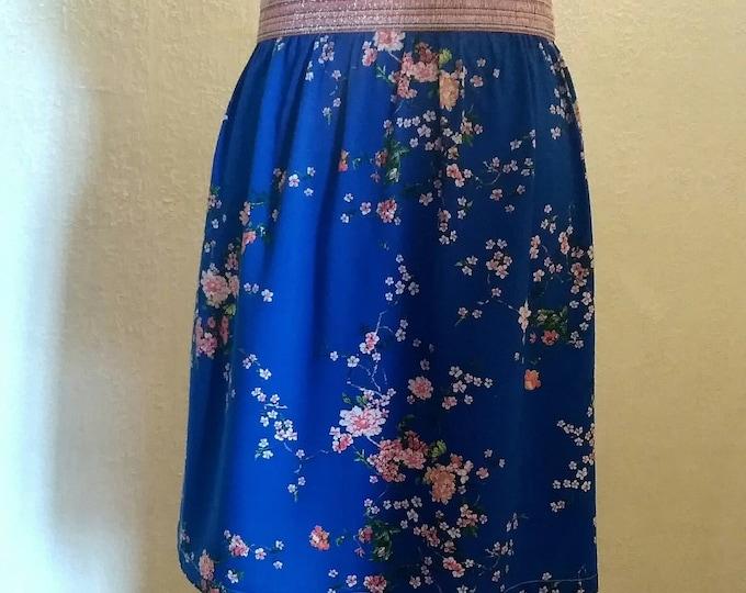 Women's glitter skirt: sequin elastic waist, floral print or plain old pink