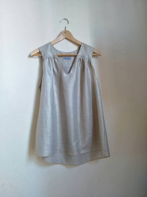 Linen Golden women top. Tank top was beige natural, gold highlights. Women's Sleeveless Top