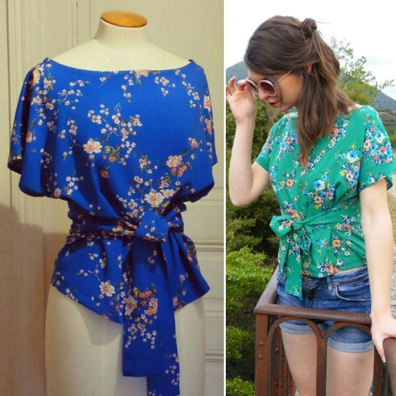 Top was woman blue or green, Japanese cherry flower cotton fabric, tie top, kimono top, cobalt blue flowers print, electric blue