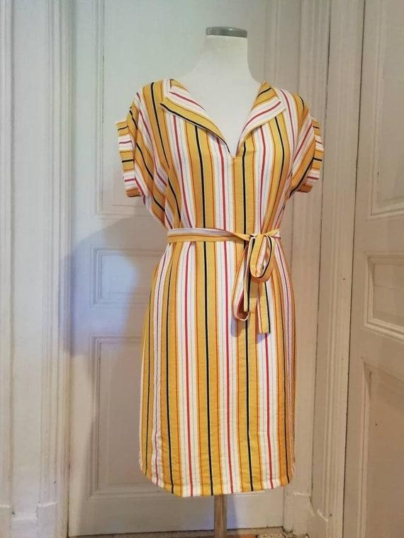Short striped shirt dress for summer cotton and mustard yellow viscose