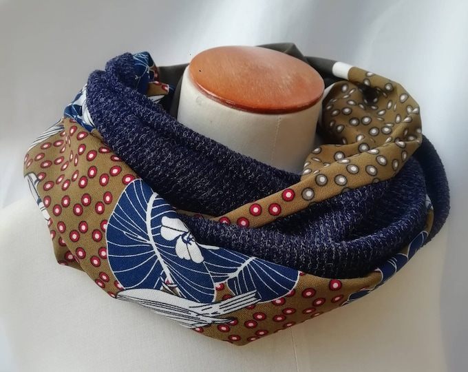 SNOOD woman Japanese blue or rust. Infinite scarf for women, tubular scarf, knitted collar