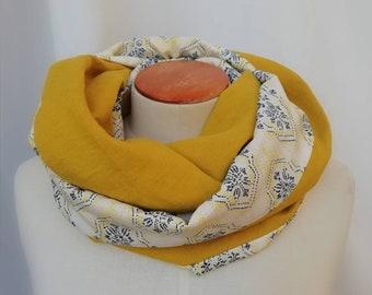 Women's scarf snood yellow graphic. Infinite scarf, neck circumdle, tubular scarf, tube scarf