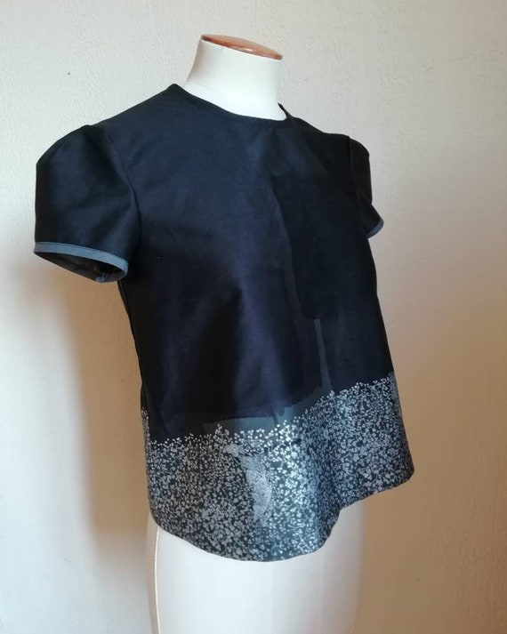 Women's blouse in Japanese cotton graphic black and silver