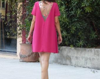 A-line dress blush color, embroidered back. Short bridesmaid dress or cocktail. Pastel dress