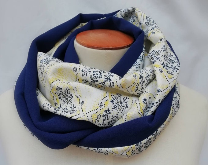 Blue and yellow graphic snood scarf. Infinite scarf, neck circump steer, tubular scarf, tube scarf