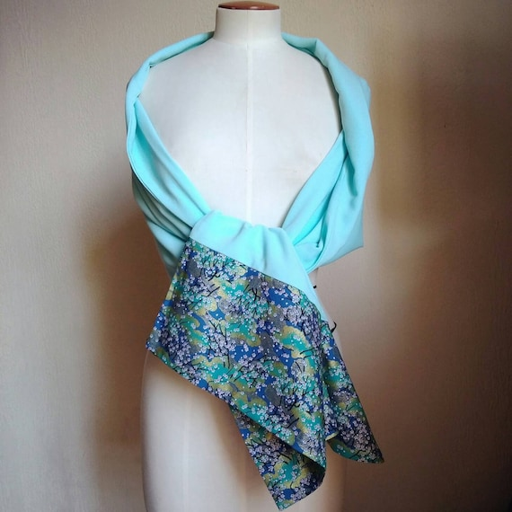 """woman shawl, Stole Japanese fabric and aquaverd fabric,""""Cherry blossom"""" pattern.Scarf for ceremony, evening, cocktail or wedding celebration"""