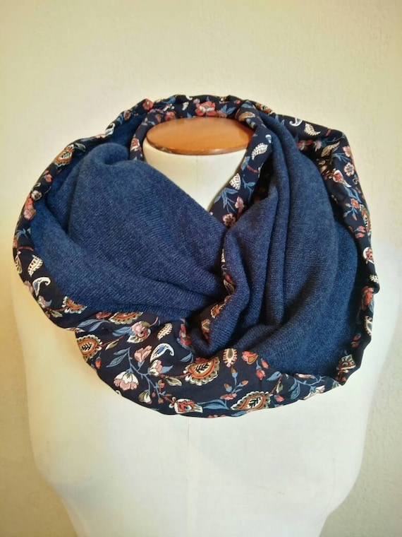 Blue printed SNOOD for women, infinity scarf, scarves, tubular, collar, knit Blue Heather, blue, rust, ecru floral print.