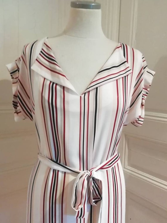 Short striped pink shirt dress for cotton and viscose summer