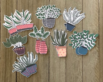 Die cut potted plants, Potted plants die cuts, Embellishments, Journal decor, Scrapbooking, Cardmaking,