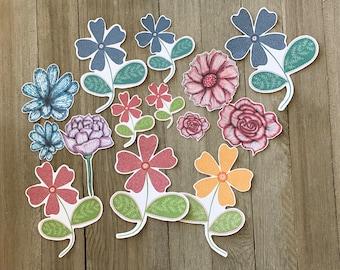 Die cut whimsical flowers, Die cuts, Scrapbooking, Journal decor, Journaling, Cardmaking, Floral die cuts