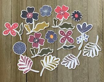 Die cut whimsical flowers, Scrapbooking, Journal decors, Cardmaking, Journaling, Whimsical die cuts