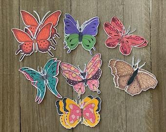 Die-cuts Butterflies, Journal embellishments, Butterflies, Colorful butterlies, Scrapbooking, Cardmaking