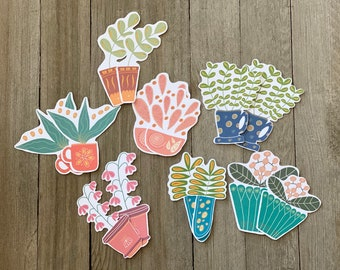 Die cut whimsical potted flowers and leaves, Scrapbooking, Journal decors, Cardmaking, Journaling, Whimsical die cuts
