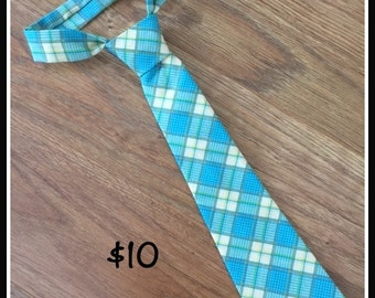 1/2 PRICE SALE!!!  Little Boy Handmade Necktie / Light Blue Plaid Tie