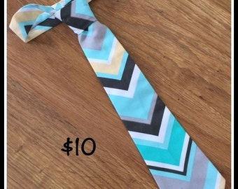 1/2 PRICE SALE !!!  Little Boy Handmade Necktie / Light Blue Chevron Tie
