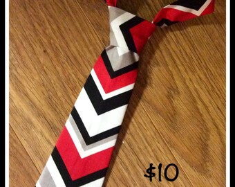 1/2 PRICE SALE !!!   Little Boy Handmade Necktie, Tie, Chevron Red, White, Black
