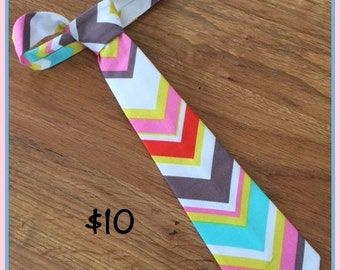 1/2 OFF SALE!!!  Little Boys Handmade Necktie / Spring Colors Chevron Tie