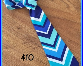 1/2 PRICE SALE!!!  Little boy Handmade Necktie / Blue Chevron Tie