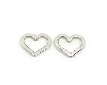 Open Heart Earrings, Heart Stud Earrings, Heart Shaped Earrings, Silver Heart Earrings, Dainty Stud Earrings, Love Heart Earrings