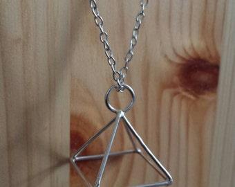 Silver triangle pyramid geometric pendant
