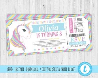 Unicorn Invitation Printable Etsy