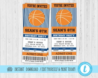Basketball Ticket Invitation Birthday Party Invite Self Editing