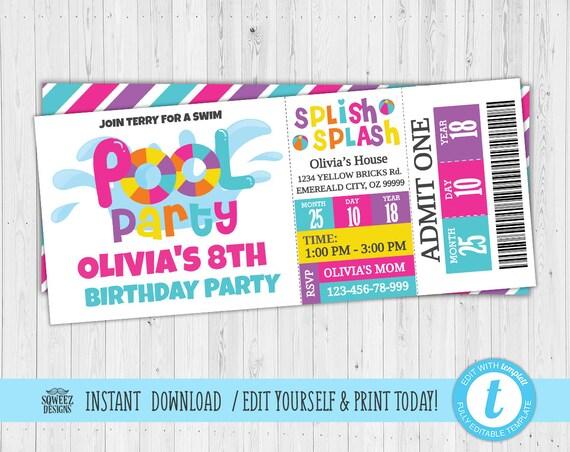 Girls Pool Party Invitation Pool Party Birthday Invitation
