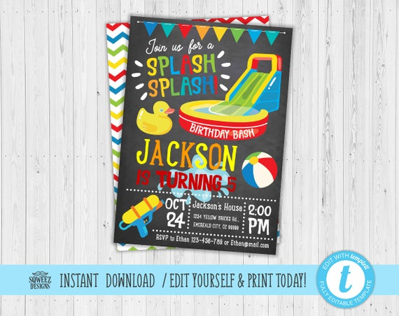 Pool Party Invitation Boy Birthday Swimming Chalkboard Supplies