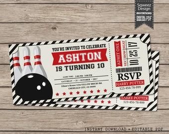 Bowling Invitations, Bowling Birthday Invitations, Bowling Ticket, Bowling Party Invitations  - Instant Download Editable PDF