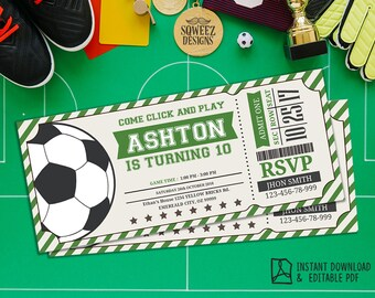Soccer Ticket Invitation, Soccer Invitation, Soccer Birthday Invitation Party  - Instant Download Editable PDF