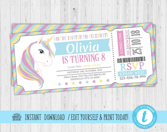 photograph about Unicorn Invitations Printable referred to as Unicorn ticket Invites, Unicorn Bash Invitation