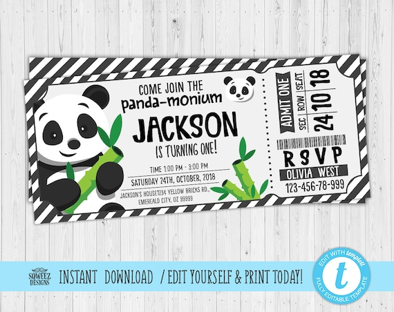 Panda Birthday Party Invitation, Panda-Monium Birthday Party Invite, Printable Digital Panda Invite - Instant Download & Editable File