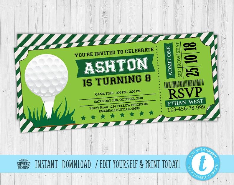 Golf Invitations, Golf Birthday Invitations, Golf Ticket Golf Party  Invitations - Instant Download & Editable File - Templett